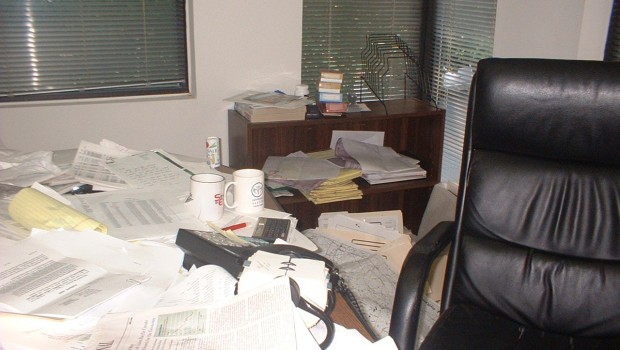 Messy Desk before Macon organizer Katherine Denton