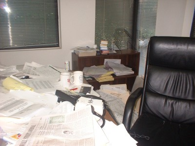 Messy Desk before Macon organizer Katherine Denton